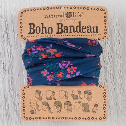 Boho Bandeau navy's with pink flower
