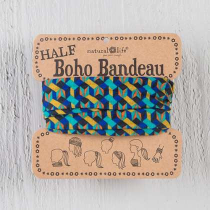 Blue and gold geometric half boho bandeau