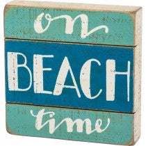Slat Box Sign - On Beach Time