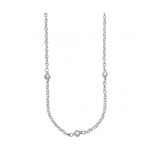 Waxing Poetic Thin Cable Chain with Pearls, Sterling Silver