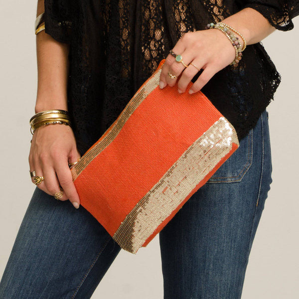 Two's Company Jute Clutch, Orange & Gold