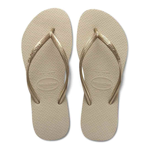 Havaianas Slim Flip Flop in Sand Grey/Light Golden
