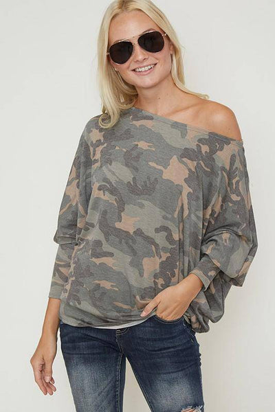 One shoulder camo top