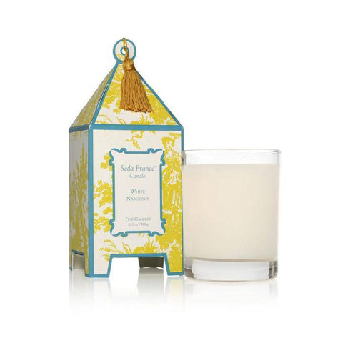 Seda France White Narcissus Classic Toile Pagoda Box Candle