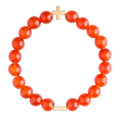 Charged Carnelian & Gold Elastic Bracelet