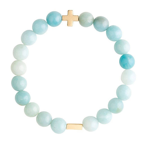 Charged Amazonite & Gold Elastic Bracelet
