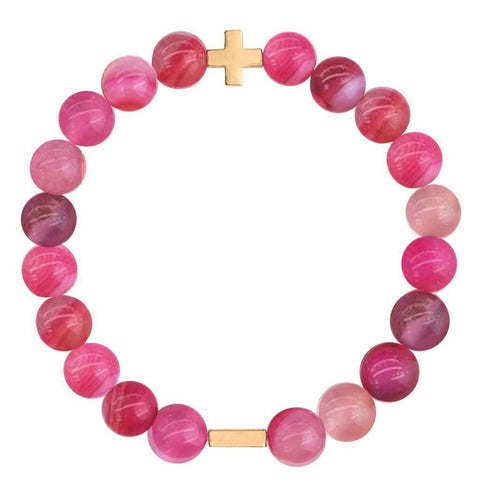 Charged Pink Agate & Gold Elastic Bracelet