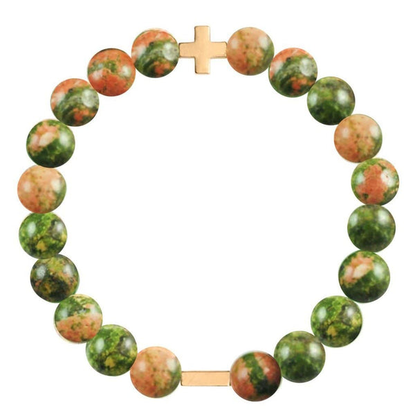 Charged Unakite & Gold Elastic Bracelet