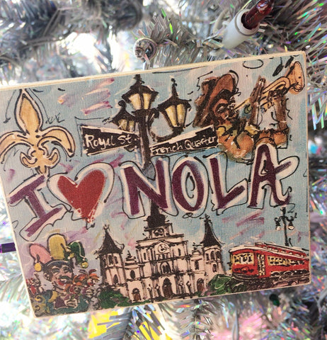 """I Love NOLA"" Ornament by Heidi Hensley Art"