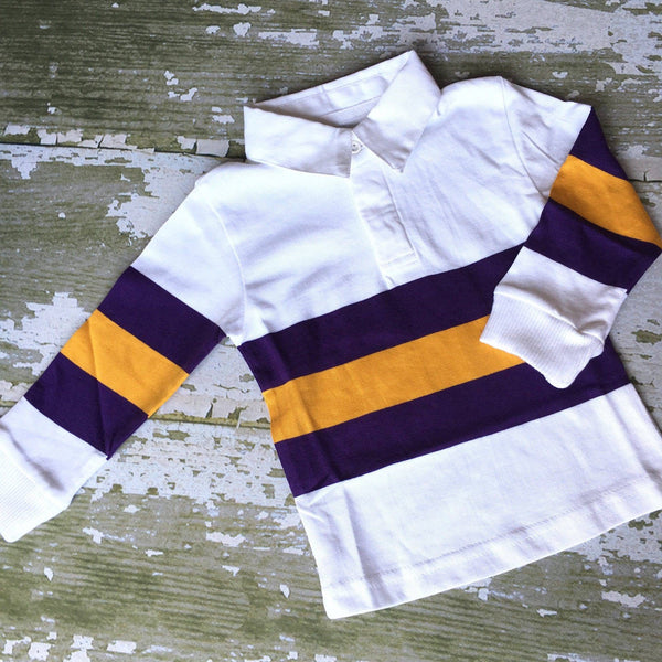 Me Me's Long Sleeve Purple & Gold Stripe Rugby Shirt