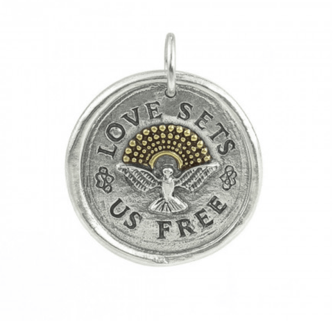 Waxing Poetic Love Sets Us Free Pendant