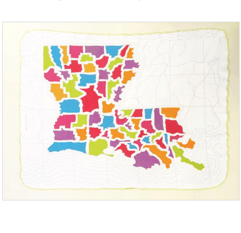 Ellen Macomber Louisiana Parishes Map Organic Blanket