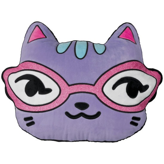 iScream Emoji Cat with Glitter Glasses Scented Embroidered Pillow