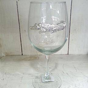 Pewter Graphics Alligator Wine Glass