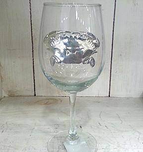 Pewter Graphics Crab Wine Glass