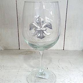 Pewter Graphics Fleur de Lis Wine Glass