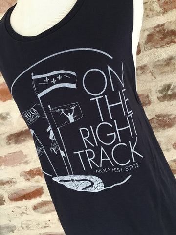 Sarah Ott's On the Right Track Flowy Scoop Muscle Tank Top