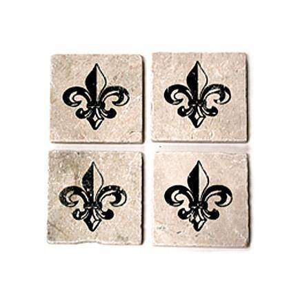 Set in Stone Set of 4 Fleur de Lis Coasters