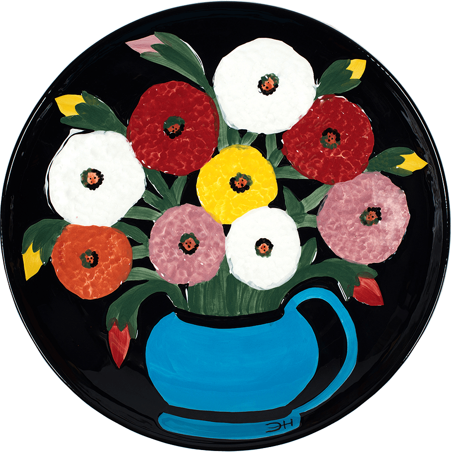 Clementine Hunter Zinnias Looking At You Platter
