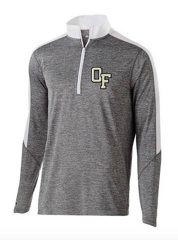 OAK FOREST HIGH SCHOOL FACULTY ASSOCIATION 2018 HOLLOWAY LADIES EMBROIDERED GRAPHITE HEATHER/WHITE ELECTRIFY HALF ZIP PULLOVER