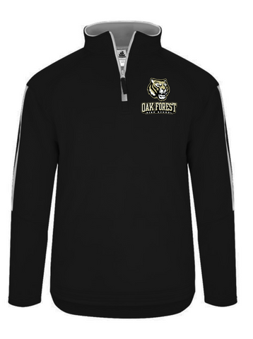 OAK FOREST HIGH SCHOOL FACULTY ASSOCIATION 2018 BADGER EMBROIDERED BLACK/WHITE SIDELINE FLEECE QUARTER ZIP PULLOVER