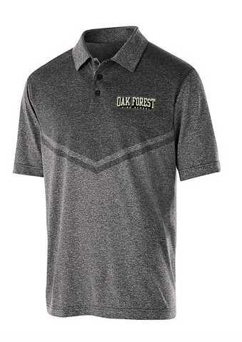 OAK FOREST HIGH SCHOOL FACULTY ASSOCIATION 2018 HOLLOWAY MENS EMBROIDERED BLACK/HEATHER SEISMIC POLO SHIRT