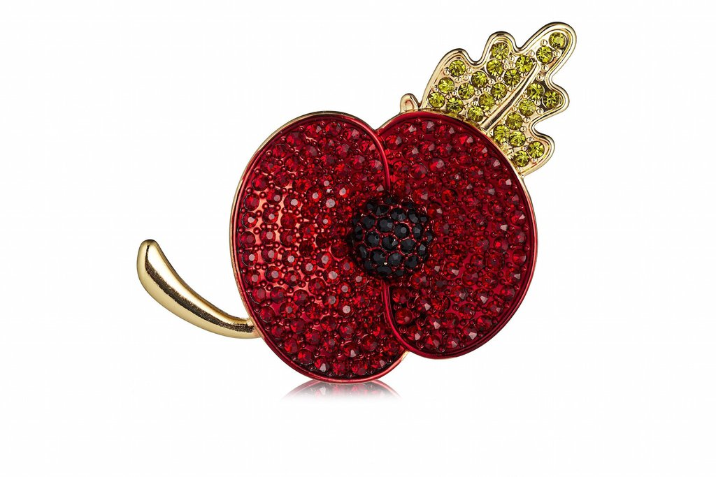 Crystal Remembrance Day Poppy Brooch