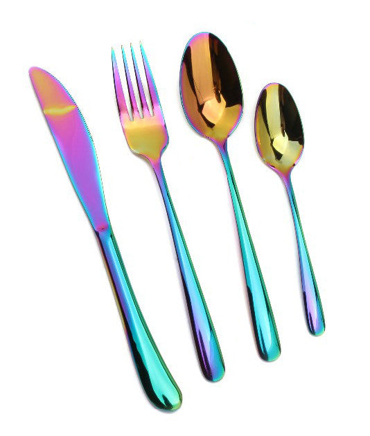 8/16 Piece Holographic Rainbow Cutlery Set