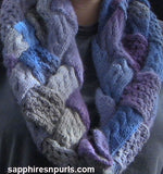 Cables and Lace Entrelac Cowl Pattern