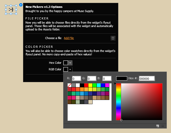 Adobe Muse widget flyout panel now features a native Swatch Color Picker and File Upload Picker.