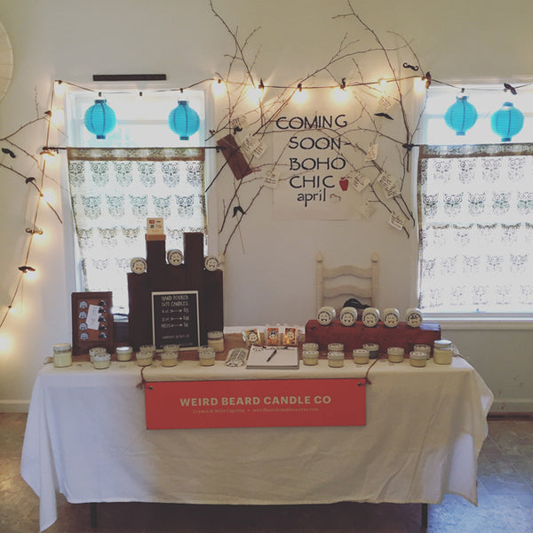 Weird Beard Candle Co. pop up shop at Boho Chic Boutique, Waterford NY