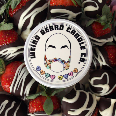 Sexy Mofo - chocolate covered strawberries valentines day scented soy candle by Weird Beard Candle Co.