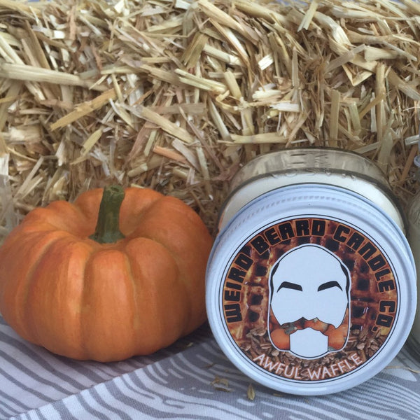 Awful Waffle pumpkin pecan waffle soy candle seasonal fall Weird Beard Candle Co