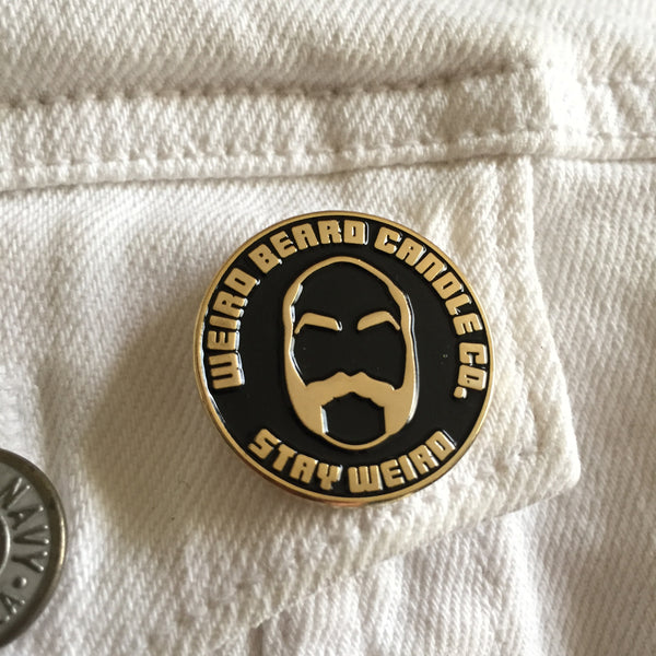 Weird Beard Candle Co logo black and gold soft enamel pin