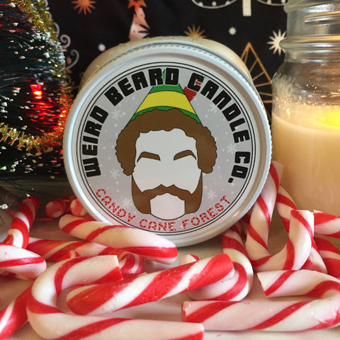 Candy Cane Forest 8oz soy candle - candy cane scented