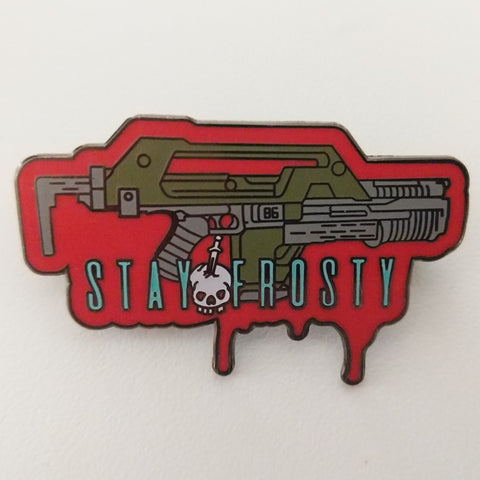 Stay Frosty soft enamel pin with glow in the dark and double pin back