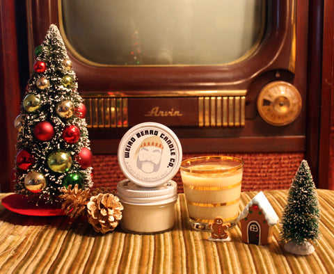 A Toast to Christmas Past - Boozy Gingerbread Eggnog Christmas scented soy candle by Weird Beard Candle Co.
