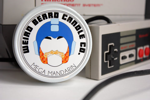 Mega Mandarin - Vintage gamer themed Mandarin scented soy candle by Weird Beard Candle Co.
