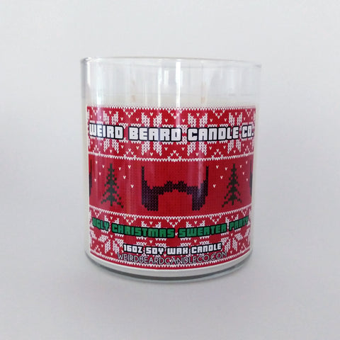 Ugly Christmas Sweater Party peppermint and pine scented soy candle holiday Weird Beard Candle Co