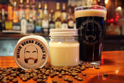 Peanut Butter Coffee Porter - Peanut butter coffee beer scented soy candle by Weird Beard Candle Co.
