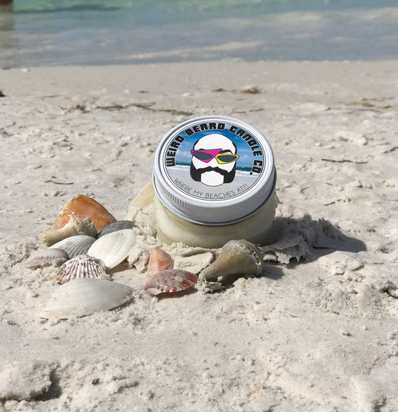 Where My Beaches At beachy soy candle Weird Beard Candle Co