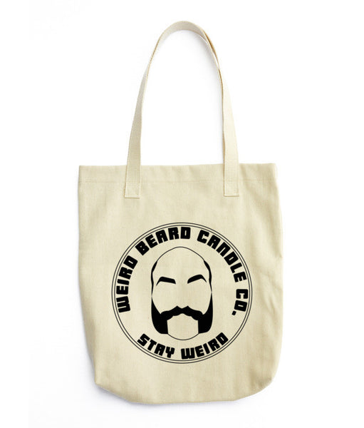 Weird Beard Candle Co. Stay Weird logo canvas Tote bag