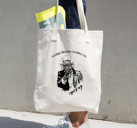 Zombie Uncle Sam logo canvas Tote bag by Weird Beard Candle Co.