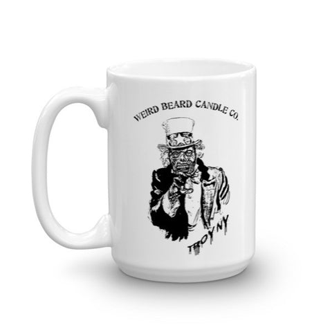 Uncle Same zombie logo 15oz Mug by Weird Beard Candle Co.