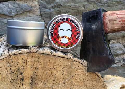 Weird Beard Candle Co The Lumbersexual campfire and red wine scented soy candle