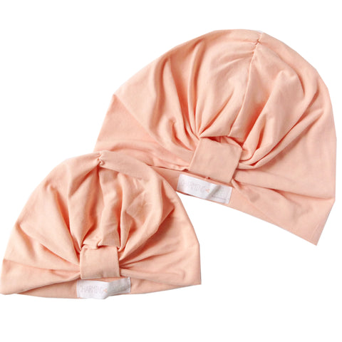 Peach Mommy & Me Gathered Turban Hat