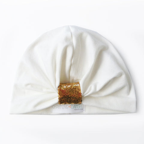 Off-White & Gold Sequins Gathered Turban Hat