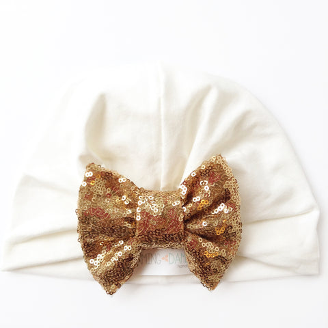 Off White Turban Hat & Gold Sequin Bow