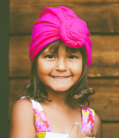 Hot Pink Top Knot Turban Hat