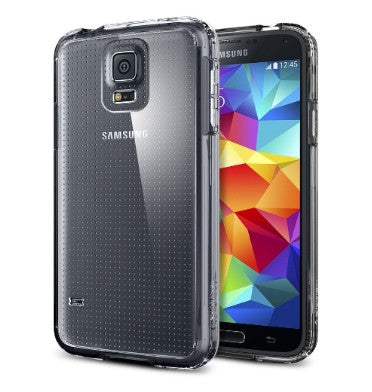 SAMSUNG GALAXY S5 PREMIUM ULTRA SLIM CASE AND SCREEN PROTECTOR CRYSTAL CLEAR | SPIGEN